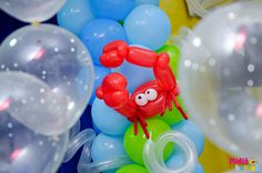 Crab balloon sculpture! Under the Sea Birthday Party Ideas | Catch My Party