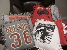 No-sew throw pillows made from t-shirts.  The same idea as those fleece blankets but, you can use fun tshirts's instead.  Super easy & fun.