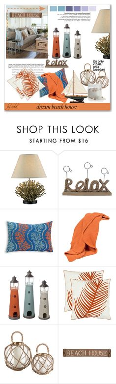 """""""Dream Beach House"""" by eula-eldridge-tolliver ❤ liked on Polyvore featuring interior, interiors, interior design, home, home decor, interior decorating, Scapa Home, Privilege, Safavieh and Pottery Barn"""