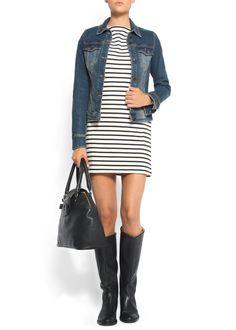 mango: straight-cut striped dress...