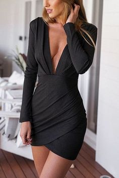 a7c04ba0b01 Black Plunge Ruched Wrap-Style Dress Vestidos Sexys