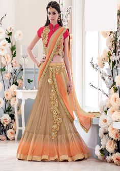 Beige Net Wedding Lehenga Saree 67153