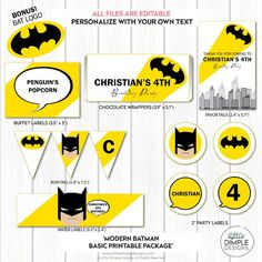 Modern Batman Superhero Party Decor in yellow and black. Instant download - Add your own text to party favors, cupcake toppers and more.
