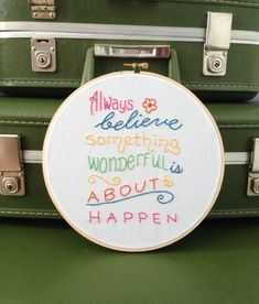 """Embroidery Hoop Wall Art, Hand Embroidered, Believe Quote, 8"""" Wood Hoop, 100% Cotton Fabric, Eco-Felt Covered Back"""