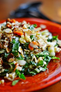 Crunchy Bok Choy Salad with sweet and sour dressing, sliced almonds and raw ramen noodles, easy recipe that comes together in 15 minutes.