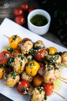 Vegetable skewers in an olive oil sauce packed with fresh herbs and garlic. A great side dish for anything else on the grill.
