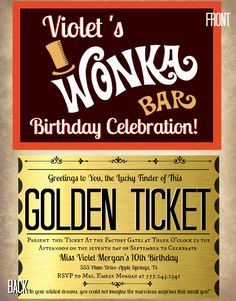 What a great birthday party idea!  Printable Golden Ticket Chocolate Bar party invitation DesignsbyDanielleE