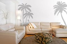 Palm Trees Wall Decals Stickers Sea Birds Beach Scenery Wall Graphics Wall Tattoos