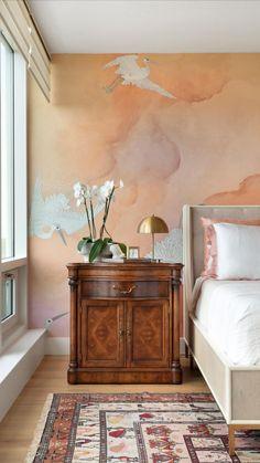 Phillip Jeffries Flight Wallcovering - Coral Transitional Bedroom Design