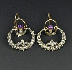 Crescent Moon Amethyst & Diamond Hoop Earrings  #Rose #9K #Cut #Sterling #Amethyst #Earrings #Diamond #Poison #Peruzzi #Paste