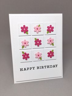 handmade birthday card from I'm in Haven ... nine-patch of die cut inches with stitch lines .. small doe cut flowers top eachon ... like it!