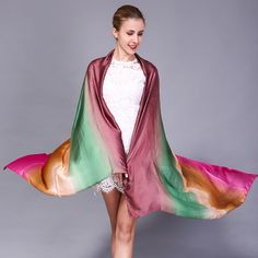 >> Click to Buy << Spring and Autumn new satin imitation silk color thin section scarf Lady gradient color beach towel scarf #Affiliate