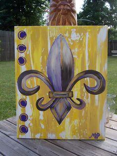 Purple and Gold Fleur De Lis