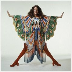 Year: 1971 Model(s): Lesley Ann Warren Photographer:  Bert Stern Designer(s): Adolfo __________ Additional Information from Flickr: Photo Bert Stern 1971 by © Plesurephoto on Flickr.Via Flickr: Lesley Ann Warren wearing colorful butterfly wing kimono with fringe at hem by Adolfo with red tights and sandals 1971 —DO NOT EDIT THIS TEXT—