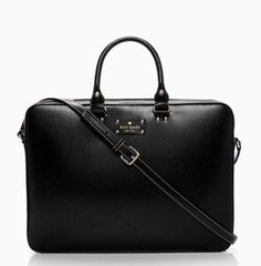 KATE SPADE Wellesley TANNER~ Laptop Case Computer Bag ~ BLACK Leather ~ NWT $395 #katespade #ShoulderBag