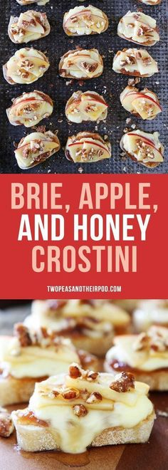 Brie, Apple, and Honey Crostini is the perfect party appetizer. It only takes 15 minutes to make! Toasted baguette slices with melted brie, apple butter, apple slices, candied pecans, and honey. YUM!