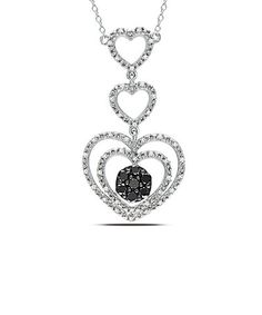 Loving this 0.5-tw Black & White Diamond Heart Drop Pendant Necklace on #zulily! #zulilyfinds
