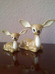 Vintage Pair of LONG EAR DEER Mother and Fawn by maggiecastillo