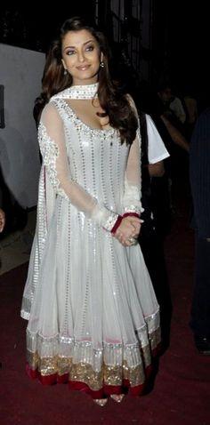 @ $149.00 Aishwarya Rai white anarkali with free shipping only at http://www.buyindianwear.com