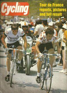Phil Anderson takes on Bernard Hinault. Phil Anderson, Cycling Weekly, Cycling News, Mountain Biking, Biker, Bicycle, Racing, Baseball Cards, Sports