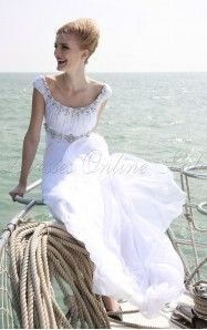A-line Ankle-length Scoop White Dress