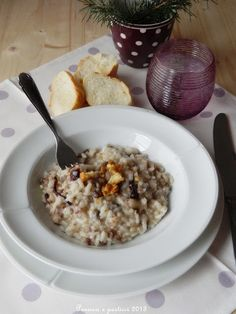 risotto with sausage, radicchio and walnuts