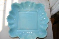 Large Square Turquoise Mid Century Vintage Dish by VintageTale, $36.40