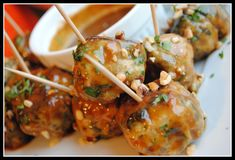 Chicken Meatballs with Sweet Peanut Sauce