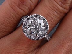 3.29 CARAT CT TW ROUND CUT DIAMOND ENGAGEMENT RING G SI2 | eBay