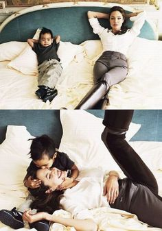I have a soft spot for mom's and their boys; too cute. Angelina Jolie & son Maddox.