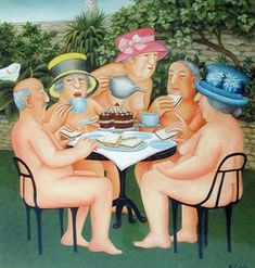 """""""Tea in the garden"""" by Beryl Cook. (Lithograph)"""
