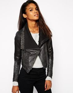 Doma+Leather+Biker+Jacket+with+Studded+Drape+Front
