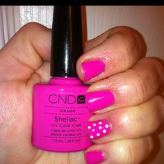 """My DIY Shellac manicure in color """" Hot Pop Pink """" with Polka Dots"""