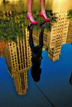 Bryan Peterson, exposure, legs, shoes, reflection, buildings, colors, rgb