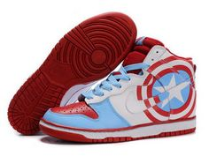 promo code 5ab84 3ece5 Nike Dunk SB 2012 New High Cut Mens Shoes Captain America red sky blue white