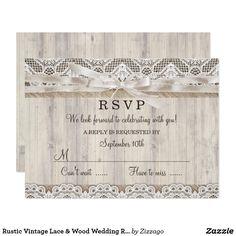 Rustic Vintage Lace & Wood Wedding RSVP Card