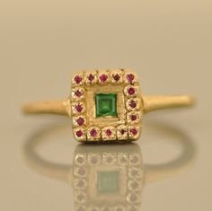 Solid Gold Ring  Emerald Ring  Gold Indian by malkaravinajewelry