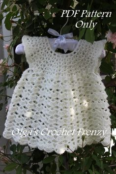 Pinafore Style Lace Baby Dress Crochet by olgascrochetfrenzy
