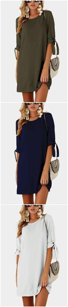 Self-tie at Sleeves Mini Dress US$13.95