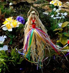 Beltane Dancing May Queen Garden Goddess. Pagan Wiccan Home Blessing Handmade