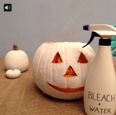 Keep your jack-o'-lanterns from getting moldy with a bleach-based spray. #Vine #lowesfixinsix