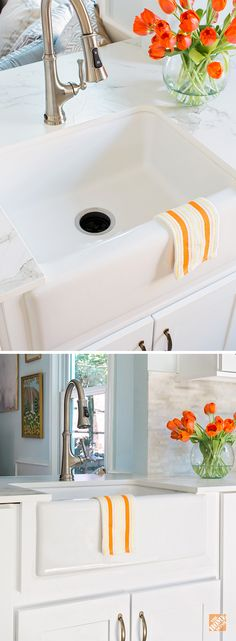 With their classic style and large sink basins to accommodate pots and pans, it's no wonder apron front sinks are so popular in kitchen remodels. Take a look at the apron front and farmhouse style sinks in fireclay, copper and stainless steel at The Home Depot.