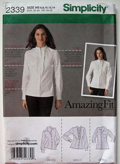 42993540cc7 Simplicity 2339 - Misses    Miss Petite Shirts - Amazing Fit Collection.  Misses    Miss petite shirt sewing pattern with individual pattern pieces  for   A