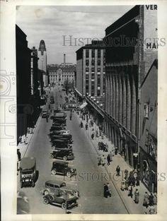 1939 Press Photo View of Helsinki's Center Street in Halsinki, Finland Helsinki, History Of Finland, Press Photo, In This Moment, Street, Walkway