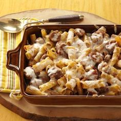 Baked Rigatoni & Sausage Recipe from Taste of Home -- shared by Elaine Neukirch of Genoa, Illinois