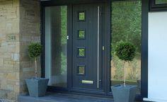 Image result for composite front door with large glass side panels Best Front Doors, Front Door Locks, Black Front Doors, House Front Door, Glass Front Door, Grey Doors, Front Porch, Contemporary Front Doors, Modern Front Door