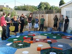 My Husband needs to get on building this!!! Life Size Settlers of Catan OMG I love this idea!