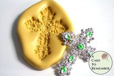 Jeweled cross silicone mold for polymer clay crafts and cake decorating. A Cake To Remember LLC