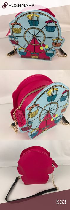"Betsey Johnson Ferris Wheel Shoulder Bag Gently used. Good condition inside and out. Lights are non-functional.  Take this Betsey Johnson bag out for a spin! Topped with a chain-link & faux leather strap, it's designed in a whimsical ferris wheel theme. 15""L shoulder strap. Small size handbag: 9-1/2"" W x 5-1/2"" H x 3"" D. Style BJ57605H. RB586  Thank you for your interest!  PLEASE - NO TRADES / NO LOW BALL OFFERS / NO OFFERS IN COMMENTS - USE THE OFFER LINK :-) Betsey Johnson Bags Crossbody…"