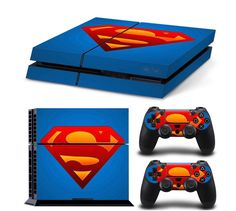 Generic Designer Skin for Sony PlayStation 4 Console System plus Decals for Dualshock Controller-Superman Classic Style Logo Ps4 Console, Playstation 4 Console, Playstation Games, Ps4 Games, Games Consoles, Ps3, Xbox, Original Superman, Videogames